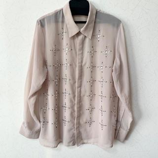 ラグナムーン(LagunaMoon)の⋆⸜Laguna Moon ベージュピンクシャツ シアー素材 ビジュー⸝⋆(シャツ/ブラウス(長袖/七分))
