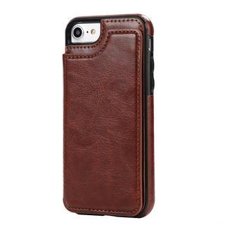 【iPhone7/8 ブラウン】iPhoneケース カード収納付き
