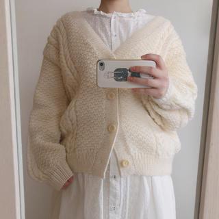 flower - knit cardigan