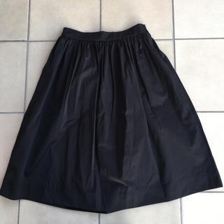 ザラ(ZARA)の新品タグ未着 ザラウーマン 綿混 ビックポケット ギャザーフレアミモレ丈スカート(ひざ丈スカート)