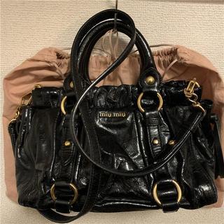 miumiu - 美品 miumiu 約16万 2wayブラック本革バッグ