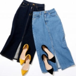 スピックアンドスパン(Spick and Span)のSpick&Span サムシング コラボ デニムタイトスカート XS(ひざ丈スカート)