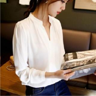 ホワイト Lサイズ Vネック 長袖 ホワイト シフォン シャツ c_550wl(シャツ/ブラウス(長袖/七分))