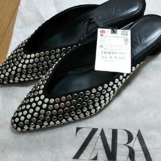 ZARA - 新品 ZARA スタッズ付き ミュール サンダル 黒 35