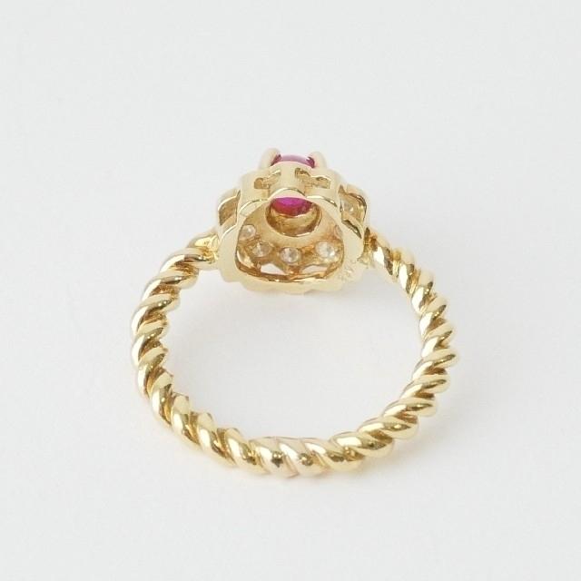 PonteVecchio(ポンテヴェキオ)の美品【ポンテヴェキオ】K18YG  フラワーモチーフ リング ダイヤ×ルビー レディースのアクセサリー(リング(指輪))の商品写真