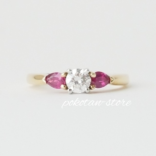 Tiffany & Co. - 美品【ティファニー】ダイヤモンド 0.25ct ルビー スリーストーン  リング
