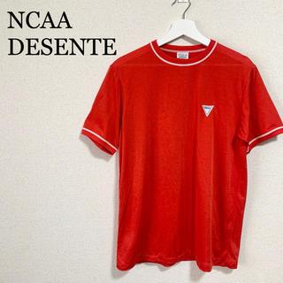 デサント(DESCENTE)のデサント NCAA Tシャツ メンズXL 赤 ロゴマーク ワンポイントロゴ 古着(Tシャツ/カットソー(半袖/袖なし))