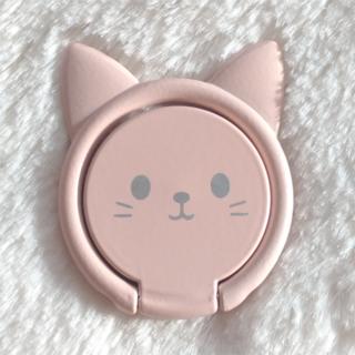 ネコ 笑顔 スマホリング ピンク