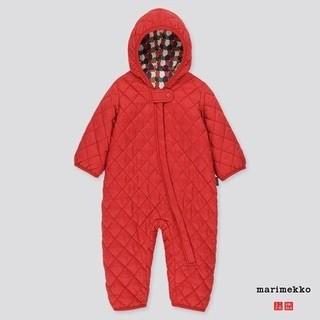 マリメッコ(marimekko)の海外限定 marimekko×ユニクロ カバーオール赤70 マリメッコ 新品(カバーオール)