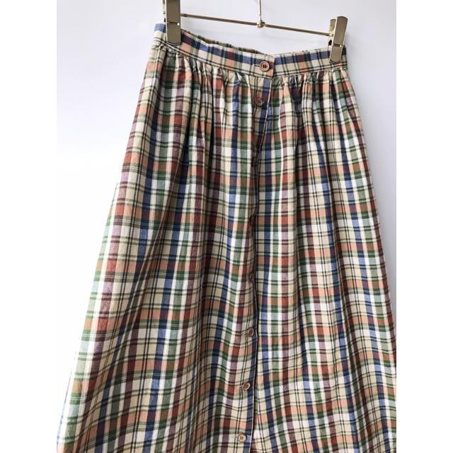Santa Monica(サンタモニカ)のvintage チェック柄 フロントボタン コットン スカート ヴィンテージ レディースのスカート(ひざ丈スカート)の商品写真