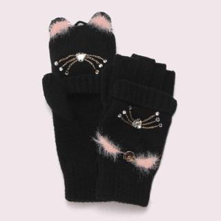 ケイトスペードニューヨーク(kate spade new york)の新品 6930円 katespade キッズ 手袋 猫 完売品(その他)