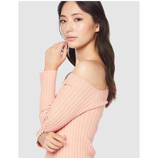FRAY I.D - 新品★オフショルダー リブニット オレンジ ピンク