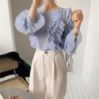 肩フリル シフォン長袖袖口フリルブラウストップス 二色(シャツ/ブラウス(長袖/七分))