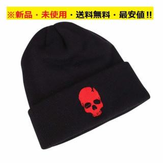 即購入歓迎♪新品♪お洒落♪ブラックニット帽ドクロ(レッド)♬(ニット帽/ビーニー)