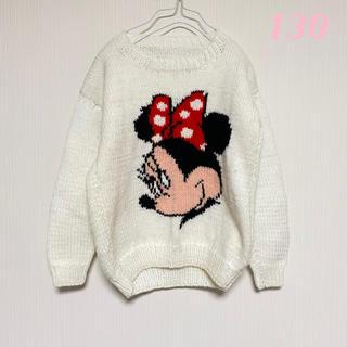 ディズニー(Disney)のキッズ古着 キッズvintage ディズニー ミニーマウス ニット セーター 白(ニット)