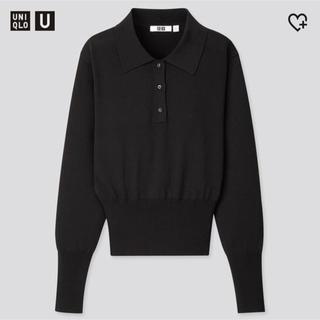 UNIQLO - 【新品未使用タグ付き】UniqloU ニットポロシャツ ブラック