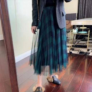 アンクルージュ(Ank Rouge)のブルーグリーンのチェック柄 チュールスカート プリーツスカート(ロングスカート)
