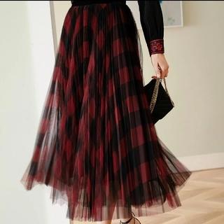 アンクルージュ(Ank Rouge)の赤 チェック柄 プリーツ チュール スカート(ロングスカート)