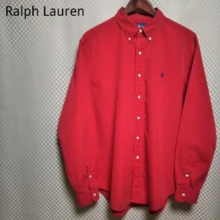 Ralph Lauren - ラルフローレン☆ボタンダウンシャツ 無地 長袖 L レッド BD 90s