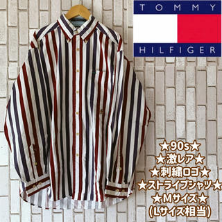 TOMMY HILFIGER - ★激レア★90s★美品★トミーヒルフィガー★ストライプシャツ★刺繍ロゴ★Lサイズ