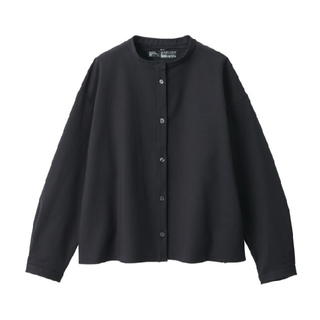 MUJI (無印良品) - MUJI 無印 新疆綿二重織り スタンドカラーシャツ黒