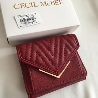 CECIL McBEE - 新品 セシルマクビー 三つ折り財布 ミニ財布 小財布 折り財布 レッド 赤