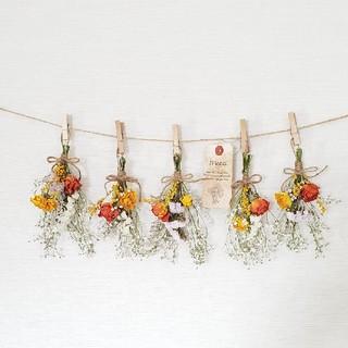 ビタミンバラとナチュラル小花の彩りドライフラワーガーランド/かすみ草(ドライフラワー)