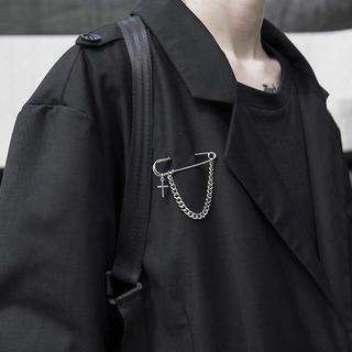 安全ピン クロスチェーン ブローチ 韓国ファッション
