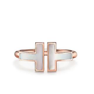 Tiffany & Co. - 新品未使用 ティファニーT マザーオブパールスクエアリング18Kローズゴールド