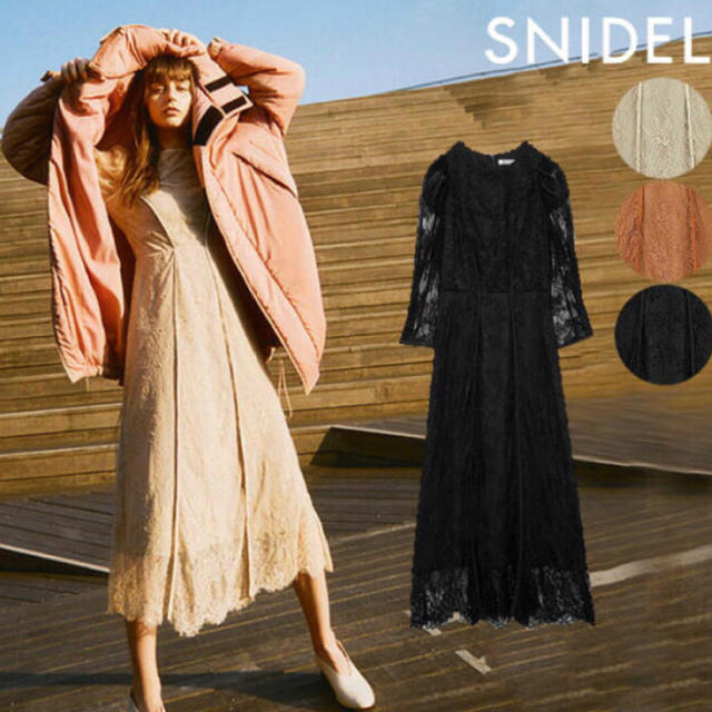 snidel(スナイデル)の新品 完売品! スナイデル パワショルオケレースワンピース1 レディースのワンピース(ロングワンピース/マキシワンピース)の商品写真