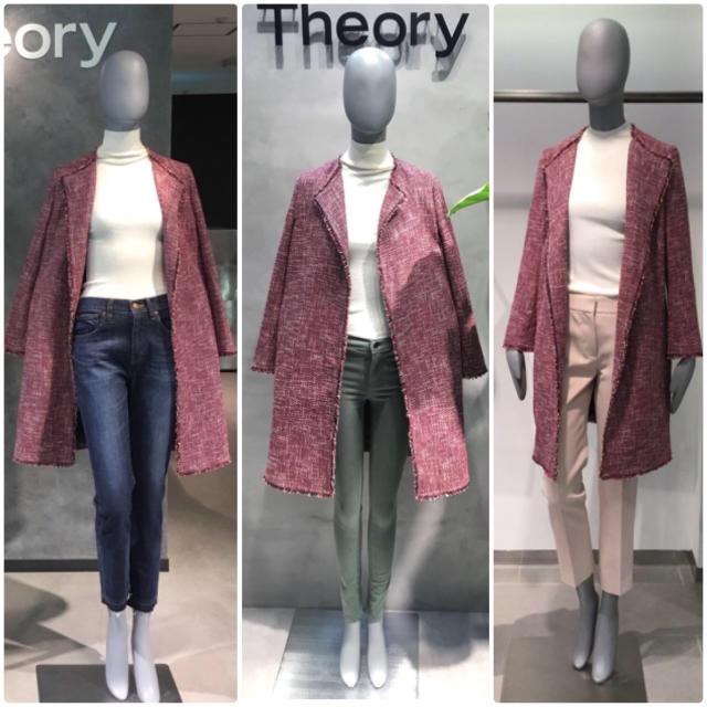 theory(セオリー)の theory 2018年 ノーカラーツイードコート 赤白ミックス P レディースのジャケット/アウター(ノーカラージャケット)の商品写真
