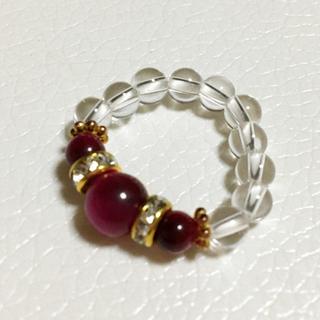 パワーストーンリング ピンクタイガーアイ&水晶(リング(指輪))