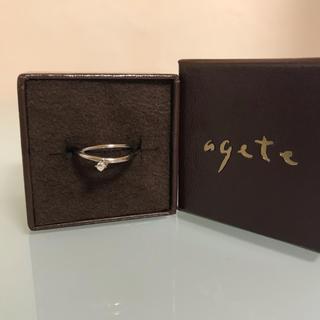 agete - agete ホワイトゴールド ホワイトトパーズ ピンキーリング《3号》
