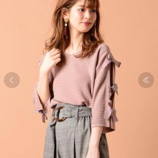ナチュラルクチュール(natural couture)のnatural couture 袖リボンニット (ニット/セーター)
