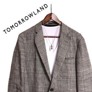トゥモローランド(TOMORROWLAND)のTOMORROWLAND テーラードジャケットチェックジャケットリネンジャケット(テーラードジャケット)