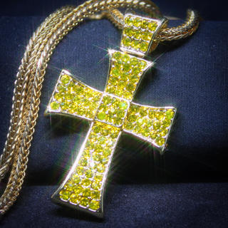 レモネードダイヤ(cz) x ゴールド クロス ネックレス