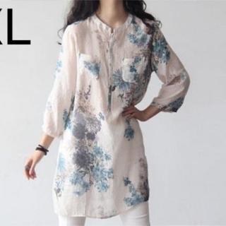 新品☆花柄♪綺麗 ロング丈シャツ XL(シャツ/ブラウス(長袖/七分))