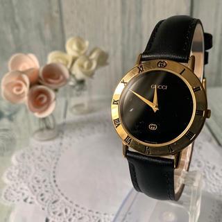 Gucci - 【動作OK】GUCCI グッチ 3000M 腕時計 ブラック ゴールド