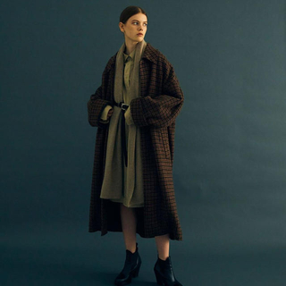 YOKE DOUBLE JQUARD KNIT BAL COLLAR COAT