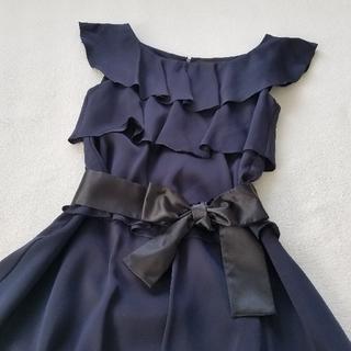 美品 フリル ワンピース 結婚式 二次会 フォーマル ドレス 紺 ネイビー(ひざ丈ワンピース)