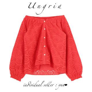 Ungrid - Ungrid コットンレースオフショルブラウス 刺繍 ヒューマンレッド