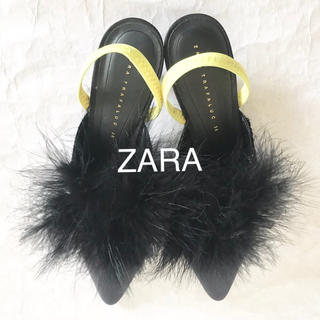 ZARA - 新品未使用★ZARA フェザーファーバッグストラップパンプス36/ブラック