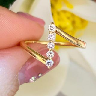 スタージュエリー(STAR JEWELRY)の美品❗️スタージュエリー 0.1ct k18 ダイヤリング(リング(指輪))