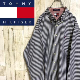 TOMMY HILFIGER - 【オールドトミー】トミーヒルフィガー☆ロゴ刺繍ストライプBDシャツ XXL