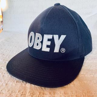 オベイ(OBEY)のObeyオベイ スナップバック キャップ・ネイビー×グレー(ロゴ)(キャップ)