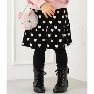 エニィファム(anyFAM)の新品 未使用 エニィファム スパッツ付きスカート 110 ネコ柄 可愛い 黒(スカート)