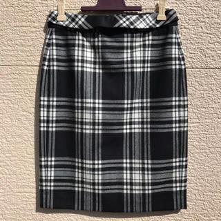 マカフィー(MACPHEE)のMACPHEE マカフィー スカート 黒 白 34(ひざ丈スカート)