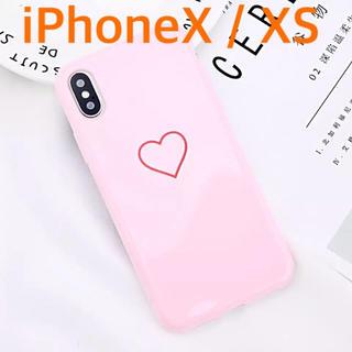 光沢 ハート iPhone X/XS ケース ピンク