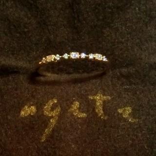 agete - アガット 0.03ctダイヤモンドのK10リング 11号