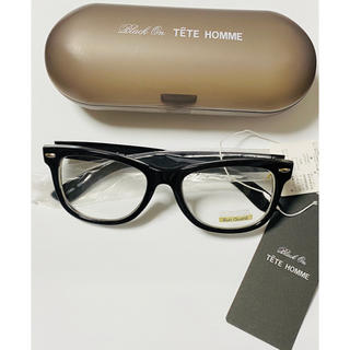 TETE HOMME - TETE HOMME テットオム眼鏡フレーム 黒 UVカット伊達メガネ ケース付